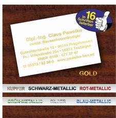 100 lackweiße Luxus-Visitenkarten mit Prägedruck in feinster Metallic-Prägung - das ist kein gewöhnlicher Druck!