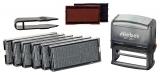 stieber® ZIERSCHRIFT-Stempelset zum Selbersetzen, 5 Zeilen: 6 Typensätze, 2 Kissen, Stempelunterlage